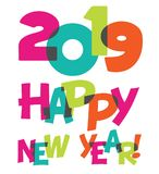 Happy New Year colorful fun playful 2019 transparent text Royalty Free Stock Photo