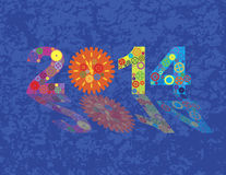 Happy New Year 2014 Colorful Gears with Background. Happy New Year 2014 Colorful Mechanical Gears and Clock with Reflection on Blue Grunge Texture Background Stock Photography
