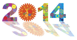 Happy New Year 2014 with Colorful Gears Illustrati Stock Photos
