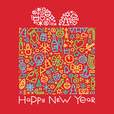 Happy new year colorful gift postcard vector illustration Royalty Free Stock Photos