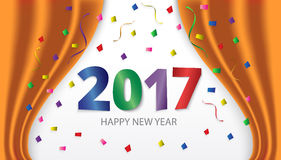 Happy New Year 2017. Colorful glossy type on background with rib. Bons and confetti. Greeting card template. Vector illustration Royalty Free Stock Images