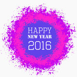 Happy New Year Colorful Greeting. Happy New Year 2016 Colorful Greeting. Blank space on isolated round paint splashes shape. For posters, banners, advert Royalty Free Stock Photos