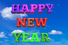 Happy New Year colorful greeting card. 3D render Royalty Free Stock Photos