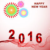 Happy New Year 2016. Colorful greeting card. Decorated with red wave and fireworks celebration. Vector illustration for poster design holiday greeting card or stock illustration