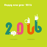 Happy New Year 2016.Colorful greeting card design.Vector illustr Stock Images