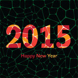 Happy New Year 2015 colorful greeting card made in Royalty Free Stock Photos
