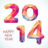Happy New Year colorful greeting card made in. Happy New Year 2014 colorful greeting card made in polygonal origami style. Vector illustration for holiday design Royalty Free Stock Photos