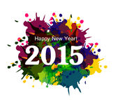 Happy New Year 2015 colorful grunge celebration beautiful card v Stock Image