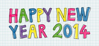 Happy New Year 2014. Colorful handwritten Happy New Year 2014 vector royalty free illustration