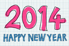 Happy New Year 2014. Colorful handwritten Happy New Year 2014 vector stock illustration