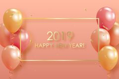 Happy new year 2019 with colorful  helium balloons floating on p. Happy new year 2019 with colorful helium balloons floating on pastel colored background with vector illustration