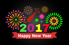 Happy new year 2017. Colorful Inscription and fireworks on a black background Royalty Free Stock Photo