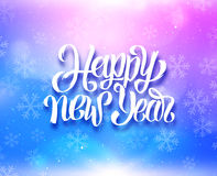 Happy New Year colorful magic background. Happy New Year greeting card with magic light and snowflakes on colorful blue-purple background. Vector design with Stock Image
