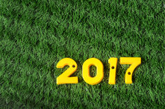 Happy New Year 2017, colorful number idea. Happy New Year 2017, nature concept and colorful number idea