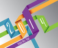 Happy New Year 2014 colorful origami illustration Royalty Free Stock Photography
