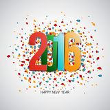 Happy New Year 2016. Colorful paper numbers on white background with confetti. Greeting card template. Vector illustration Stock Image