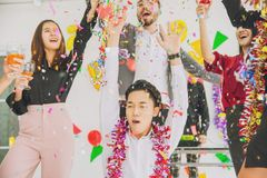 Happy new year colorful party in office business stock photography