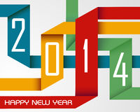 Happy New Year 2014 colorful ribbons Royalty Free Stock Photos
