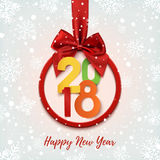 Happy New Year 2018 colorful round banner . Royalty Free Stock Photos