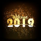 HAPPY NEW YEAR 2019 from colorful sparkle on black background Fireworks light up the sky,New Year celebration fireworks. HAPPY NEW YEAR 2019 from colorful Stock Photos