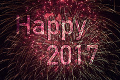 Happy New Year 2017. With colorful sparklers. The words Happy 2017 are integrated into the fireworks with black background