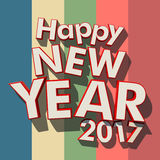 Happy New Year 2017 colorful stripes. 3D rendering of red rimmed white 3D letters on a multicolored striped background with the message Happy New Year 2017 Stock Illustration