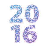 Happy New Year 2016 colorful symbol. Calendar design typography vector illustration. Mosaic faceted crystal structure Royalty Free Stock Images