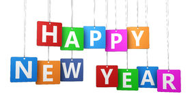 Happy New Year Colorful Tags Stock Images