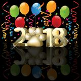 Happy new year 2018 colorful template. Happy new year 2018 with balloons and confetti party event image background vector design identity greetings card royalty free illustration