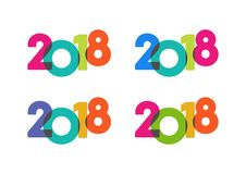 Happy New Year colorful 2018  text set. Set of 4 colorful transparent 2018  text Stock Photography