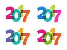Happy New Year colorful 2017 vector text. 4 colorful transparent 2017 vector text Royalty Free Stock Photos
