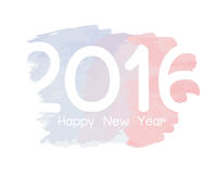 Happy new year 2016. Colorful watercolor paint design Royalty Free Stock Photo