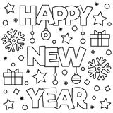 Coloring page. Vector illustration. Happy New Year. Coloring page. Vector illustration Stock Photography