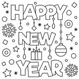 Happy New Year. Coloring page. Vector illustration. Happy New Year. Coloring page. Black and white vector illustration Royalty Free Stock Images