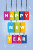 Happy New Year 2014 colors text hanging. Happy new year 2014 colorful 3D hangtag greeting card illustration. EPS10 vector file with transparency layers royalty free illustration