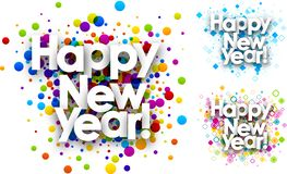 Happy new year colour backgrounds. stock illustration
