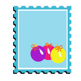 Happy new year. Coloured postal Christmas stamp with bright toys Stock Images