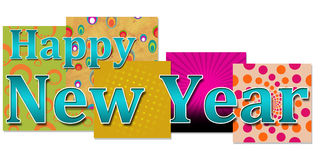 Happy New Year in Colourful Background Stock Images