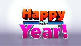 Happy New Year Colourful 3D Motion Background stock video footage