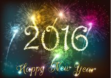 Happy new year 2016 with colourful firework Stock Photos