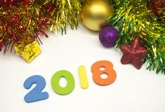 Happy New Year 2018 colourful tinsel Christmas decoration background Stock Photography