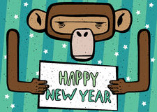Happy New Year comic monkey. Congratulations caricature Happy New Year 2016 monkey with cyan stripes Royalty Free Stock Photos