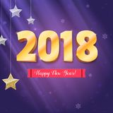 Happy New Year 2018 is coming. Gold numerals and silver stars. Happy New Year 3D illustration on backdrop with. Snowflakes, template for your greeting cards royalty free illustration