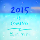 Happy new year 2015 is coming word and travel icon on summer sea. Background vector stock illustration
