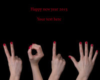 Happy new year 2015. 2015 composed by woman hands Royalty Free Stock Photos