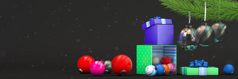 Happy new year composition with color toys decoration and magic box Royalty Free Stock Photo