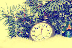 Happy New Year. Composition with old clock Royalty Free Stock Image