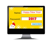 Happy new year 2017 on computer screen.  royalty free illustration