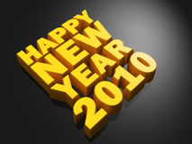 Happy New Year Concept. Happy new year word gold color with dark background 3d illustration Stock Photo