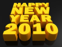 Happy New Year Concept. Happy new year word gold color with dark background 3d illustration Stock Photography